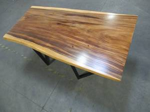 Solid Wood Live Edge Walnut Dining Table (104422362) With Metal V2 Bases (MV2BD). - VERY LOW RESERVE!