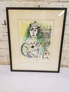 "Marc Chagall Fine Art Print- ""The Clown with Flowers"