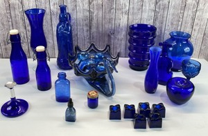 Vintage Blue Glass Decor