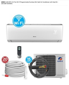 GREE 9,000 BTU 3/4 Ton Wi-Fi Programmable Ductless Mini Split Air Conditioner with Heat Kit - 230-208-Volt/60Hz See pics!