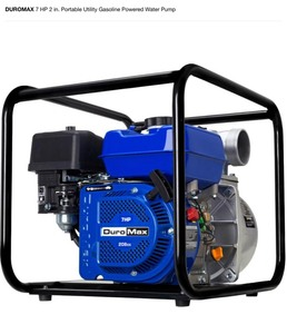 Duromax 7 HP 2 in. Portable utility gasoline powered water pump not used see pics!