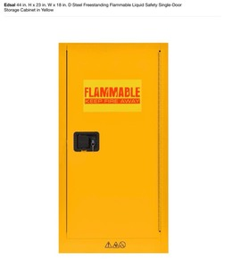 Edsal 44 in. H x 23 in. W x 18 in. D steel freestanding flammable liquid safety single door storage cabinet in yellow see pics!