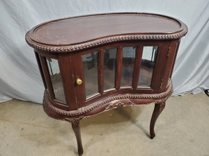 Antique Side Table with Glass Storage