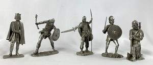 Set of 5 Viking Collectibiles Pewter Warriors by Swe-Den, years 2001-2005