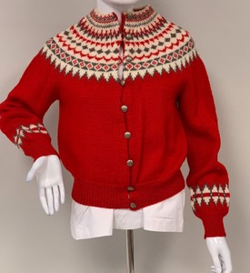 Vintage Knut Erichsen of Norway Hand Knitted Red/Cream/Grey Wool Cardigan Sweater, Ladies XS or Child L