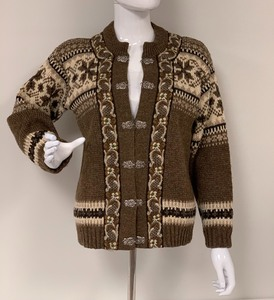 A.S. Evebøfoss Brown w/Cream Norwegian Wool Cardigan Sweater, size 46, Ladies Small to Small Med.