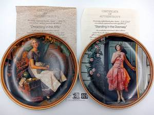 Norman Rockwell - Rediscovered Women Collection Plates 1 &7-Limited Edition (Valued@ $60)