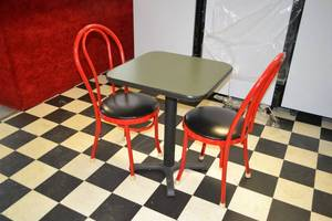 Restaurant Table and (2) Metal Frame Chairs