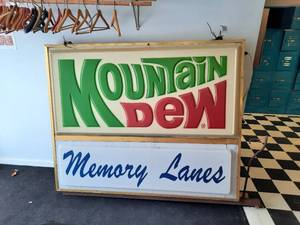 Vintage Mountain Dew Outdoor 2-Sided Sign