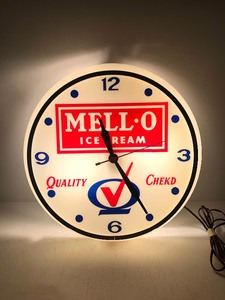 Working Vintage MELL-O Ice Cream Lighted Advertising Clock