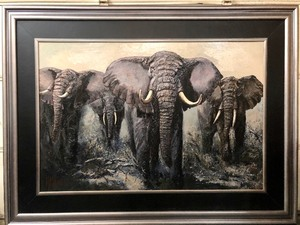 "Monumental HUGE Original Framed Oil on Canvas Painting by Listed Artist Mark King - ""Elephant Stand"""