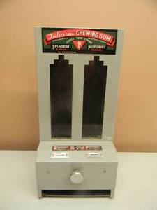 "Vintage - RARE GRAY, Delicious Chewing Gum 1 Cent Machine - Spearmint Peppermint Gum Vending Machine coin op general store - WITH KEYS! - NICE! - APPROX 8"" BY 16"" - SEE PICTURES!"