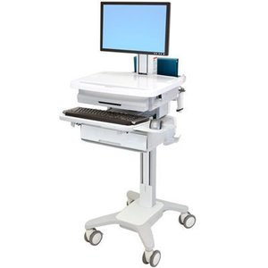MSRP $2200 Ergotron SV31-6310-0 StyleView PHD Healthcare LCD Cart with 1 Drawer With Power Strip - Good Condition Slight Yellowing To Top Surface Due To Florescent Lights - Electronics Not Included! All Unlocked - No Key