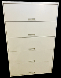 MSRP $1600 STEELCASE 5 DRAWER LATERAL LOCKING FILING CABINET W/FLIP UP FRONT DOORS & ALL DRAWERS ARE SLIDE OUT/RETRACT FOR EASE IN EXTRACTING IMPORTANT DOCUMENTS INCLUDES COUNTERWEIGHTS IN THE BOTTOM FOR BALANCE WHEN DRAWER IS OUT - GREAT CONDITION!