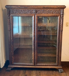 Antique Highly Carved Oak Bookcase w/ Carved Faces