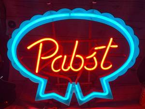 "Antique Pabst Neon Sign 19"" x 21"""