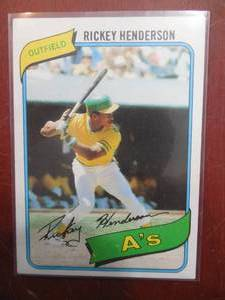 1980 Topps Rickey Henderson Rookie Card #482 Excellent Condition