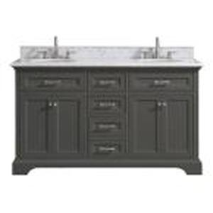 Home Decorators Windlowe 61 in. W x 22 in. D x 35 in. H Bath Vanity in Gray with Carrara Marble Vanity Top in White with White Sink not used