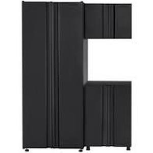 HUSKY Welded 54 in. W x 75 in. H x 19 in. D Steel Garage Cabinet Set in Black (3-Piece) NOT USED SEE PICS!