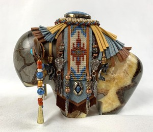 S. Rogers Mineral Specimen Stone Buffalo, Ornately Decorated w/ Turquoise, Charms, Seed Beads, Stones & Leather