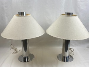 Pair of Chrome Base Lamps