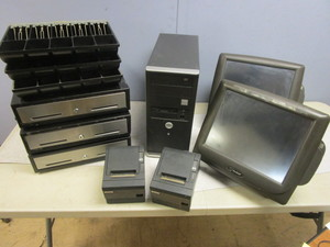RADIANT SYSTEMS RETAIL MONITORS, EPSON RECEIPT PRINTERS, NOBILIS HARD DRIVE, CASH REGISTERS