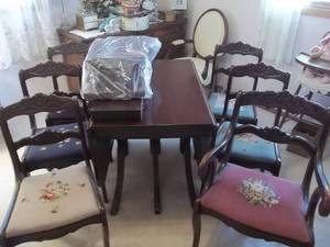 Duncan Phyffe Table & 6-Chairs With Leaves & Pads-38 x 26 Dropped & 60 x 38 Extended