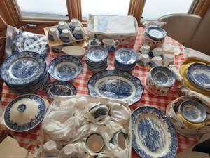 Liberty Blue Independence Hall Service For 16 And Serving Pieces. English Village Olde Staffordshire Service For 8+ Serving Pieces