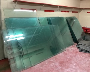 Large Quantity of Tempered Ice Rink Glass, Dividers, Hardware