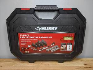Brand New Husky SAE/Metric Ratcheting Tap and Die 77 Piece Set