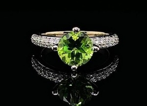 Large Pristine Natural Peridot and Diamond Estate Ring in 14k White Gold; $3,150 Retail