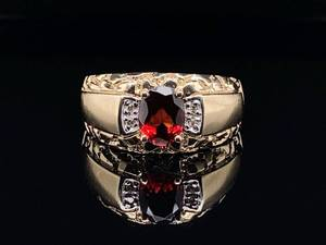 Men's Rich Garnet and Diamond Gold Nugget Styled Estate Ring in Yellow Gold; $1,625 Retail