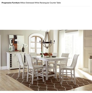 PROGRESSIVE FURNITURE WILLOW DISTRESSED WHITE RECTANGULAR COUNTER TABLE AND BASE NOT USED SEE PICS!