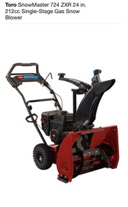 TORO SnowMaster 724 ZXR 24 in. 212cc Single-Stage Gas Snow Blower! NEW! SEE PICS!