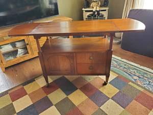 Antique Serving Table/Cabinet With Slide Out Leaves (Quite Unique and Beautiful)