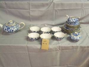 "Glass blue and white teaset ""Thomas..."