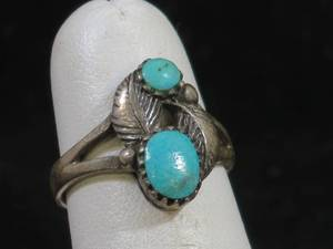 Native American Sterling Silver and Turquoise Ladies Ring