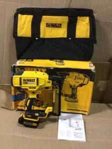 20-Volt MAX XR Lithium-Ion Cordless 18-Gauge Narrow Crown Stapler Kit with Battery 2Ah, Charger and Contractor Bag by DEWALT in good  condition