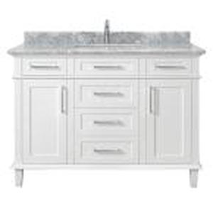Sonoma 48 in. W x 22 in. D Vanity in White with Carrara Marble Top with White Sinks by Home Decorators Collection in good conditions