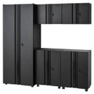 Husky Welded 78 in. W x 75 in. H x 19 in. D Steel Garage Cabinet Set in Black (5-Piece) not used see pictures