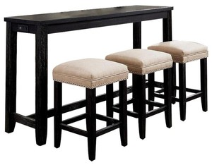 William Home 4-Piece Caerleon in Antique Black Counter Height Table Set not used see pictures