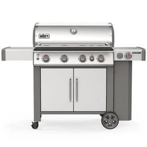 BRAND NEW! Weber Genesis II S-435 4-Burner Propane Gas Grill in Stainless with Built-In Thermometer and Side Burner, 62006001.