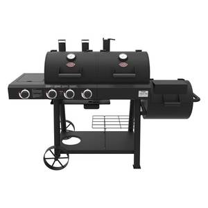 BRAND NEW! Char-griller Texas Trio 3-Burner Dual Fuel Grill with Smoker in Black, 3070.