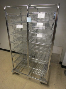 UTILITY CART, WITH PULL-OUT WIRE BASKET DRAWERS, LOCKABLE CASTER WHEELS