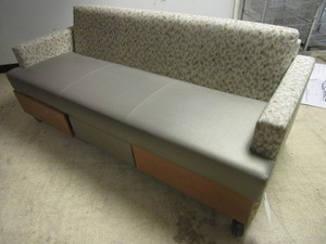 WIELAND SLEEP-TOO CONVERTIBLE COUCH, ON CASTERS, LOWER STORAGE DRAWERS