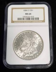 1884-O MORGAN SILVER DOLLAR MS64 NGC