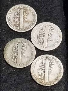 GROUP OF 4 MERCURY DIMES AS PICTURED