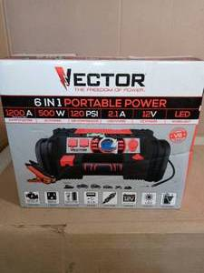 1200 Amp Jump Starter/Portable Power Station with Inverter by Vector - open box not used
