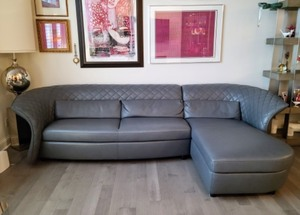 Amazing Grey Italian Leather Sofa by Kelvin Giormani