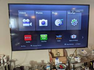 "Vizio Smartcast 65"" Wall Mounted TV w/ Remote and Blu Ray Player"